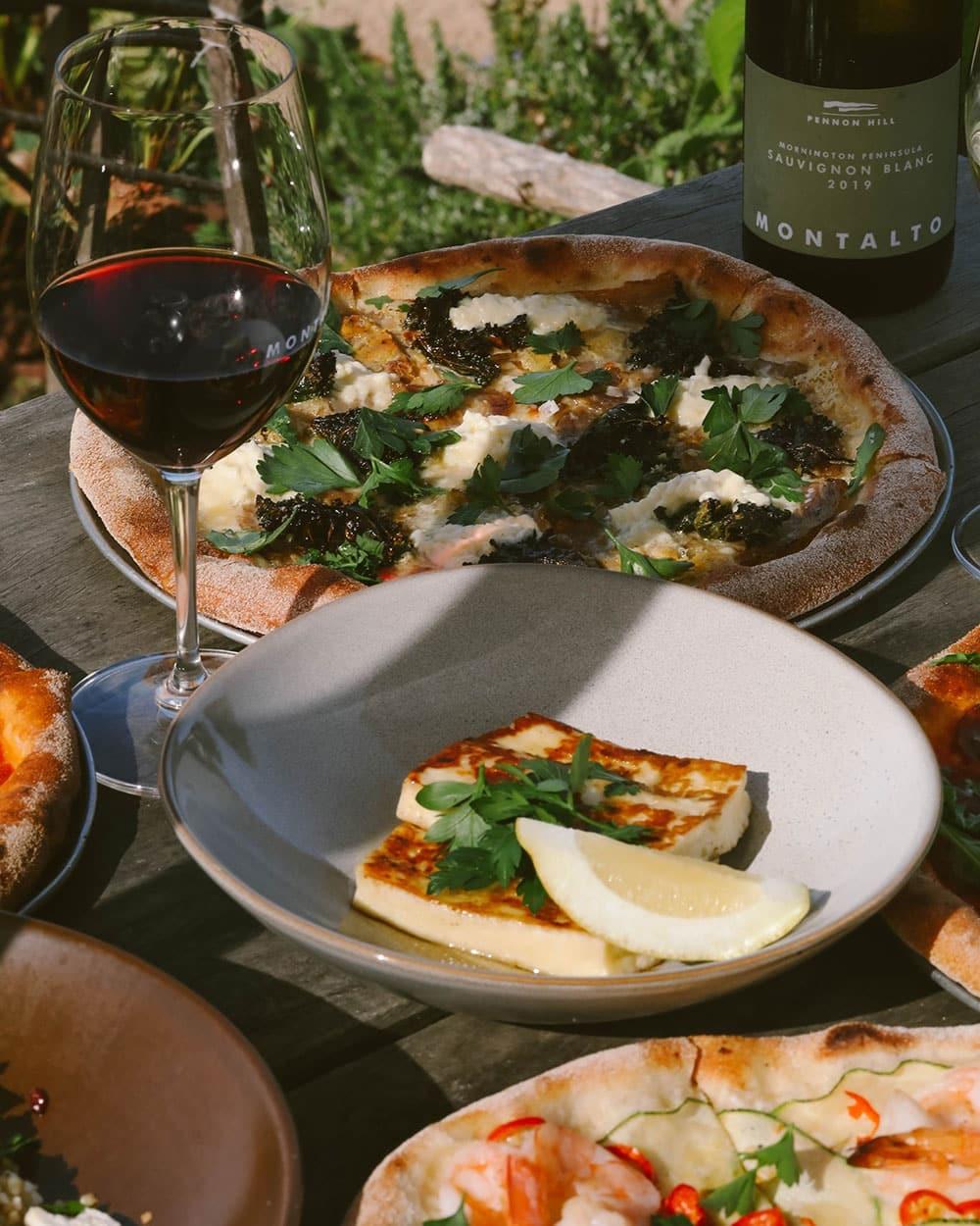 Montalto Pizzas and cooked halloumi