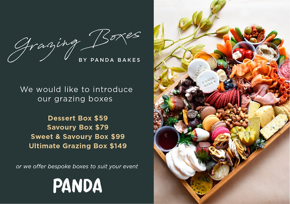 Panda Bakes at Panda Blairgowrie grazing box with an array of fruits, cheeses and deli meats