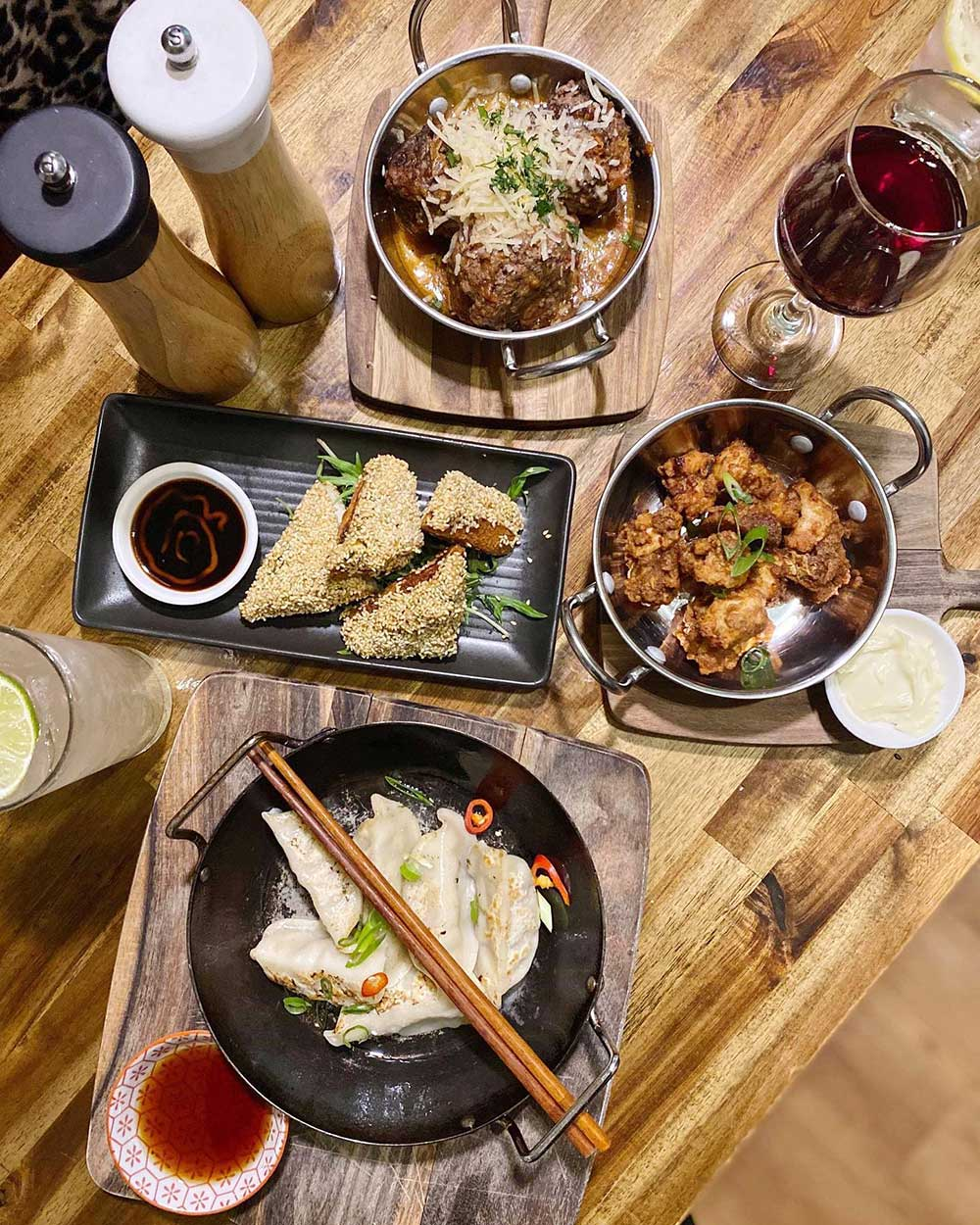 The Heritage Balnarring spread of different dishes including sesame prawn toast and dumplings
